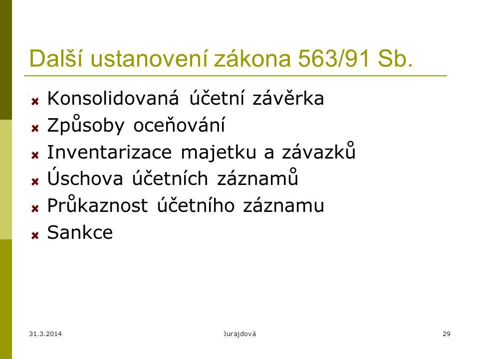 31.3.2014Jurajdová29 Další ustanovení zákona 563/91 Sb.