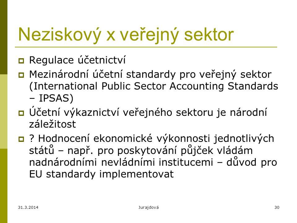 31.3.2014Jurajdová30 Neziskový x veřejný sektor  Regulace účetnictví  Mezinárodní účetní standardy pro veřejný sektor (International Public Sector A