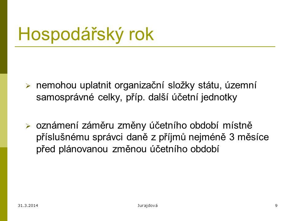 31.3.2014Jurajdová9 Hospodářský rok  nemohou uplatnit organizační složky státu, územní samosprávné celky, příp.