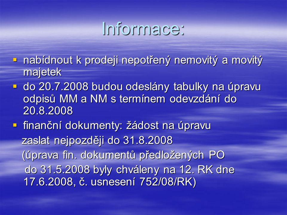 Informace:  nabídnout k prodeji nepotřený nemovitý a movitý majetek  do 20.7.2008 budou odeslány tabulky na úpravu odpisů MM a NM s termínem odevzdání do 20.8.2008  finanční dokumenty: žádost na úpravu zaslat nejpozději do 31.8.2008 zaslat nejpozději do 31.8.2008 (úprava fin.