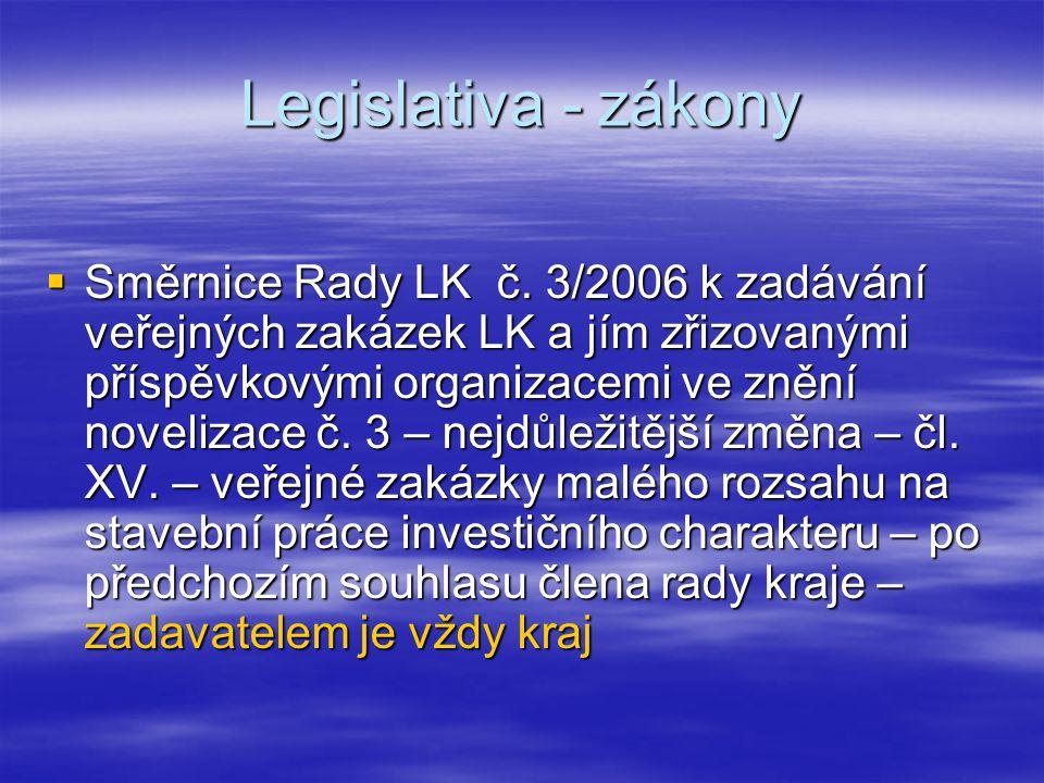 Legislativa - zákony  Směrnice Rady LK č. 3/2006 k zadávání veřejných zakázek LK a jím zřizovanými příspěvkovými organizacemi ve znění novelizace č.