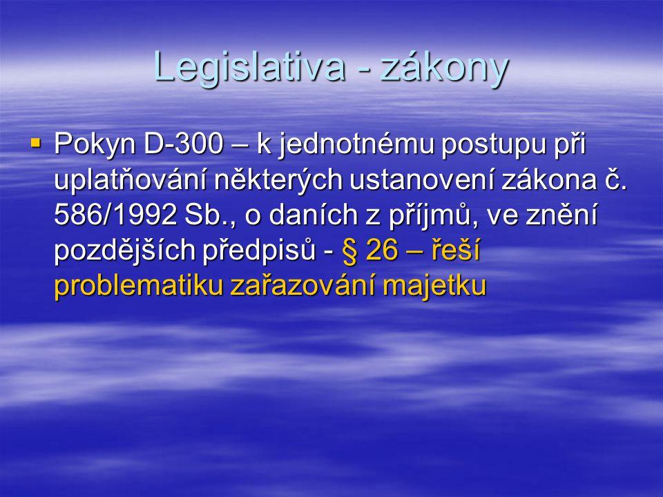 Legislativa - zákony  Pokyn D-300 – k jednotnému postupu při uplatňování některých ustanovení zákona č. 586/1992 Sb., o daních z příjmů, ve znění poz