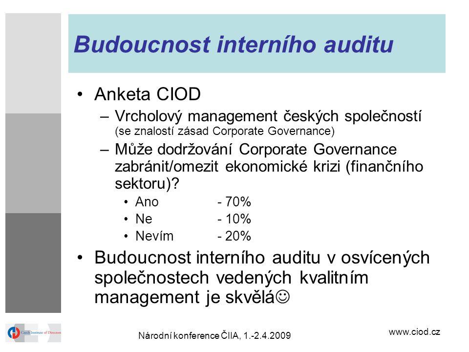 www.ciod.cz Národní konference ČIIA, 1.-2.4.2009 Budoucnost interního auditu Anketa CIOD –Vrcholový management českých společností (se znalostí zásad