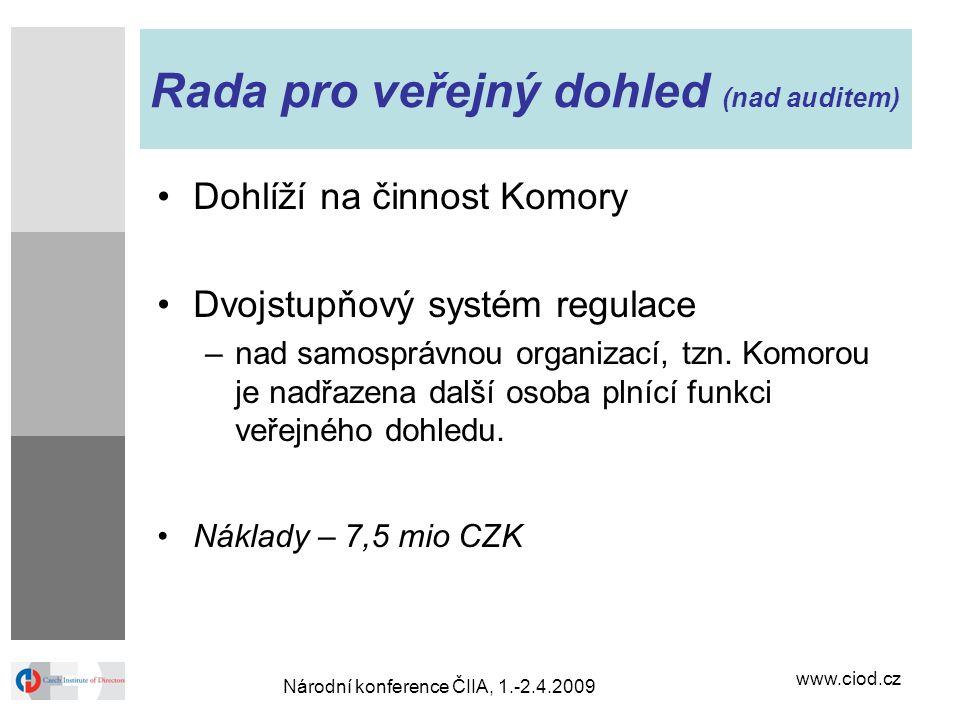 www.ciod.cz Národní konference ČIIA, 1.-2.4.2009 Rada pro veřejný dohled (nad auditem) Dohlíží na činnost Komory Dvojstupňový systém regulace –nad sam