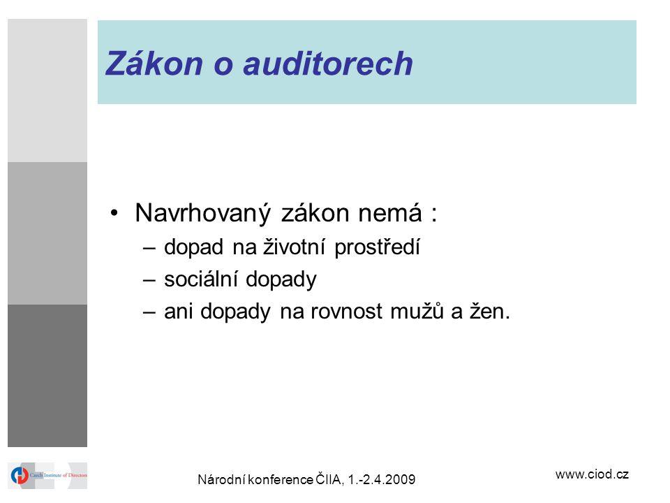www.ciod.cz Národní konference ČIIA, 1.-2.4.2009 Zákon o auditorech Navrhovaný zákon nemá : –dopad na životní prostředí –sociální dopady –ani dopady n