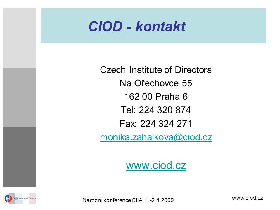www.ciod.cz Národní konference ČIIA, 1.-2.4.2009 CIOD - kontakt Czech Institute of Directors Na Ořechovce 55 162 00 Praha 6 Tel: 224 320 874 Fax: 224