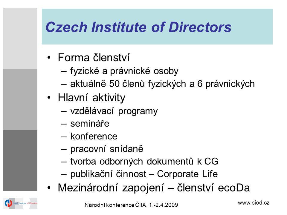 www.ciod.cz Národní konference ČIIA, 1.-2.4.2009 Czech Institute of Directors Forma členství –fyzické a právnické osoby –aktuálně 50 členů fyzických a