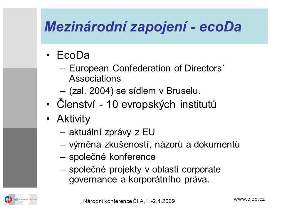 www.ciod.cz Národní konference ČIIA, 1.-2.4.2009 Mezinárodní zapojení - ecoDa EcoDa –European Confederation of Directors´ Associations –(zal. 2004) se