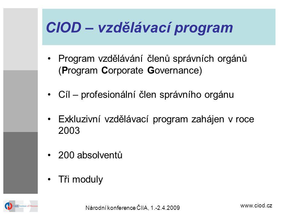 www.ciod.cz Národní konference ČIIA, 1.-2.4.2009 CIOD – vzdělávací program Program vzdělávání členů správních orgánů (Program Corporate Governance) C