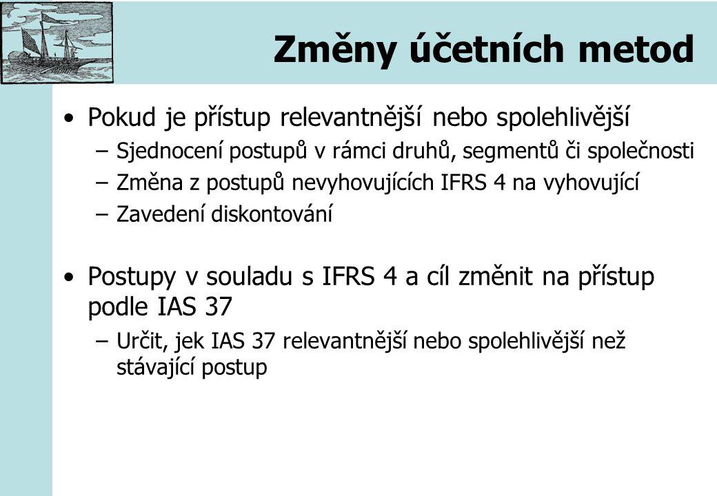 Změny účetních metod Pokud je přístup relevantnější nebo spolehlivější –Sjednocení postupů v rámci druhů, segmentů či společnosti –Změna z postupů nevyhovujících IFRS 4 na vyhovující –Zavedení diskontování Postupy v souladu s IFRS 4 a cíl změnit na přístup podle IAS 37 –Určit, jek IAS 37 relevantnější nebo spolehlivější než stávající postup
