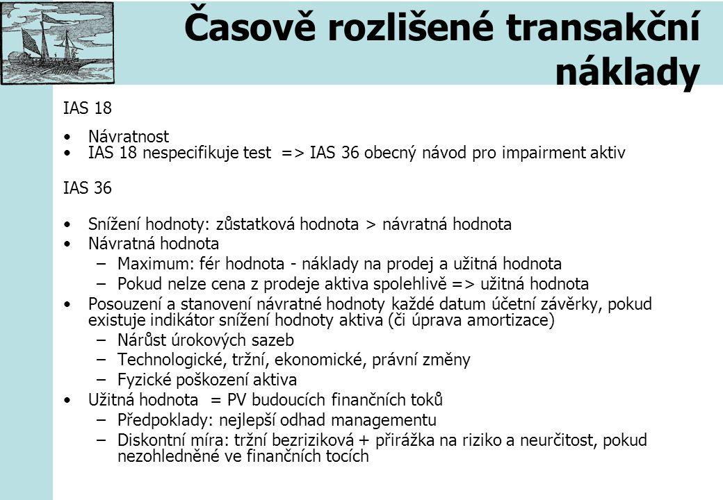 Časově rozlišené transakční náklady IAS 18 Návratnost IAS 18 nespecifikuje test => IAS 36 obecný návod pro impairment aktiv IAS 36 Snížení hodnoty: zů