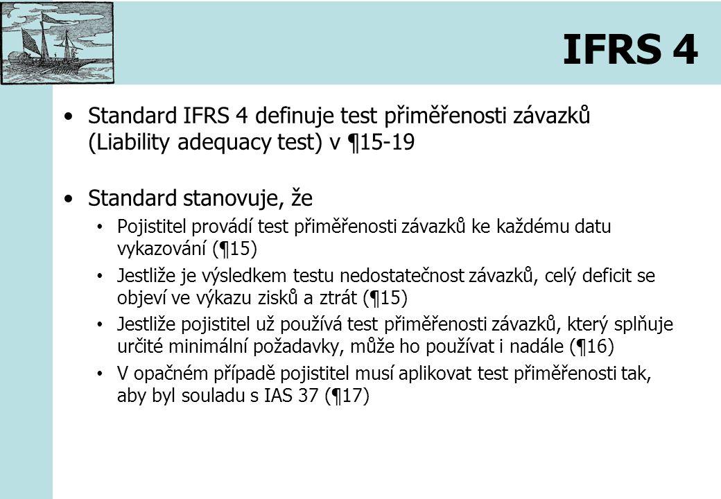 IFRS 4 Standard IFRS 4 definuje test přiměřenosti závazků (Liability adequacy test) v ¶15-19 Standard stanovuje, že Pojistitel provádí test přiměřenosti závazků ke každému datu vykazování (¶15) Jestliže je výsledkem testu nedostatečnost závazků, celý deficit se objeví ve výkazu zisků a ztrát (¶15) Jestliže pojistitel už používá test přiměřenosti závazků, který splňuje určité minimální požadavky, může ho používat i nadále (¶16) V opačném případě pojistitel musí aplikovat test přiměřenosti tak, aby byl souladu s IAS 37 (¶17)