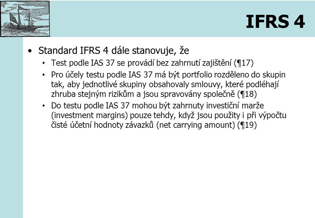 IFRS 4 Standard IFRS 4 dále stanovuje, že Test podle IAS 37 se provádí bez zahrnutí zajištění (¶17) Pro účely testu podle IAS 37 má být portfolio rozděleno do skupin tak, aby jednotlivé skupiny obsahovaly smlouvy, které podléhají zhruba stejným rizikům a jsou spravovány společně (¶18) Do testu podle IAS 37 mohou být zahrnuty investiční marže (investment margins) pouze tehdy, když jsou použity i při výpočtu čisté účetní hodnoty závazků (net carrying amount) (¶19)