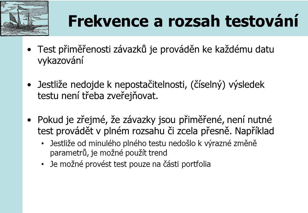 Frekvence a rozsah testování Test přiměřenosti závazků je prováděn ke každému datu vykazování Jestliže nedojde k nepostačitelnosti, (číselný) výsledek testu není třeba zveřejňovat.