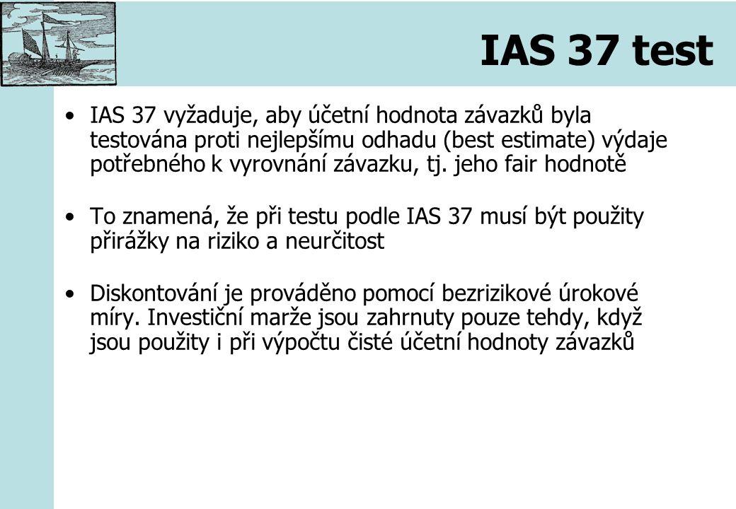 IAS 37 test IAS 37 vyžaduje, aby účetní hodnota závazků byla testována proti nejlepšímu odhadu (best estimate) výdaje potřebného k vyrovnání závazku, tj.