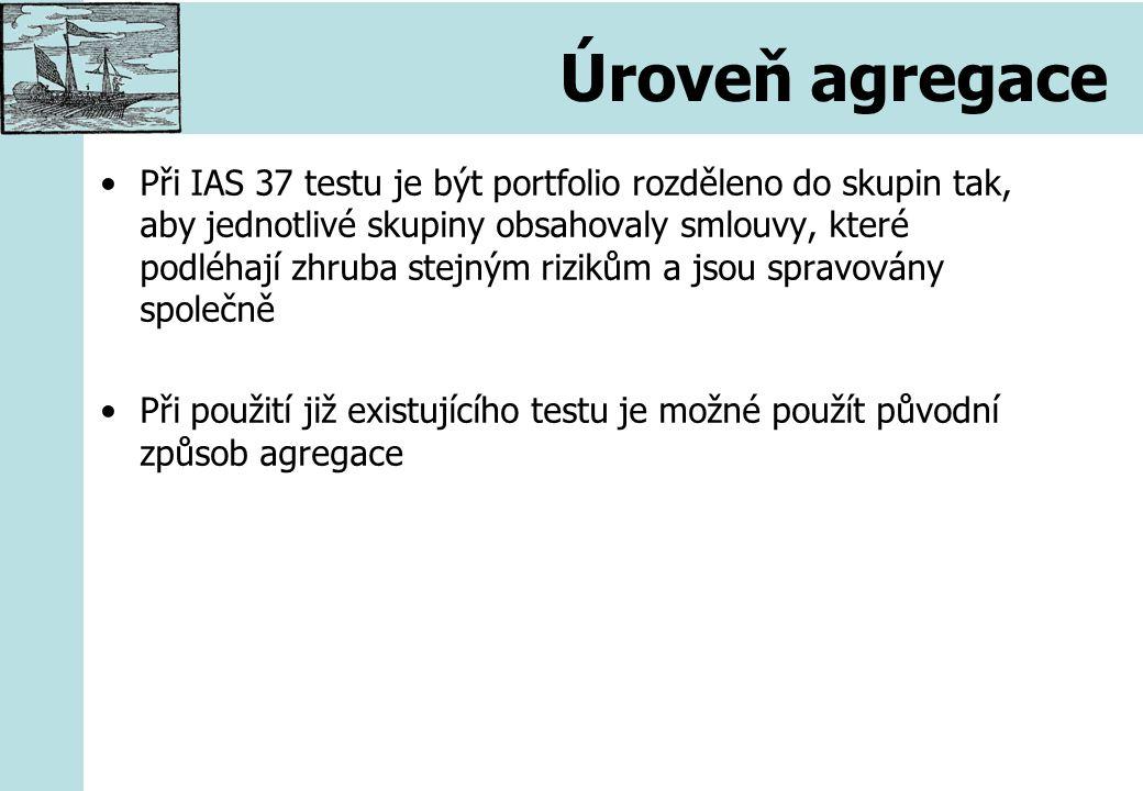 Úroveň agregace Při IAS 37 testu je být portfolio rozděleno do skupin tak, aby jednotlivé skupiny obsahovaly smlouvy, které podléhají zhruba stejným rizikům a jsou spravovány společně Při použití již existujícího testu je možné použít původní způsob agregace
