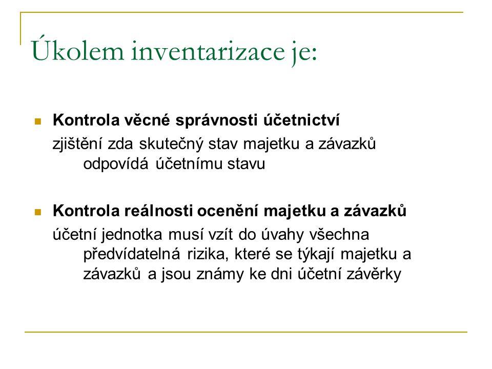 Úkolem inventarizace je: Kontrola věcné správnosti účetnictví zjištění zda skutečný stav majetku a závazků odpovídá účetnímu stavu Kontrola reálnosti
