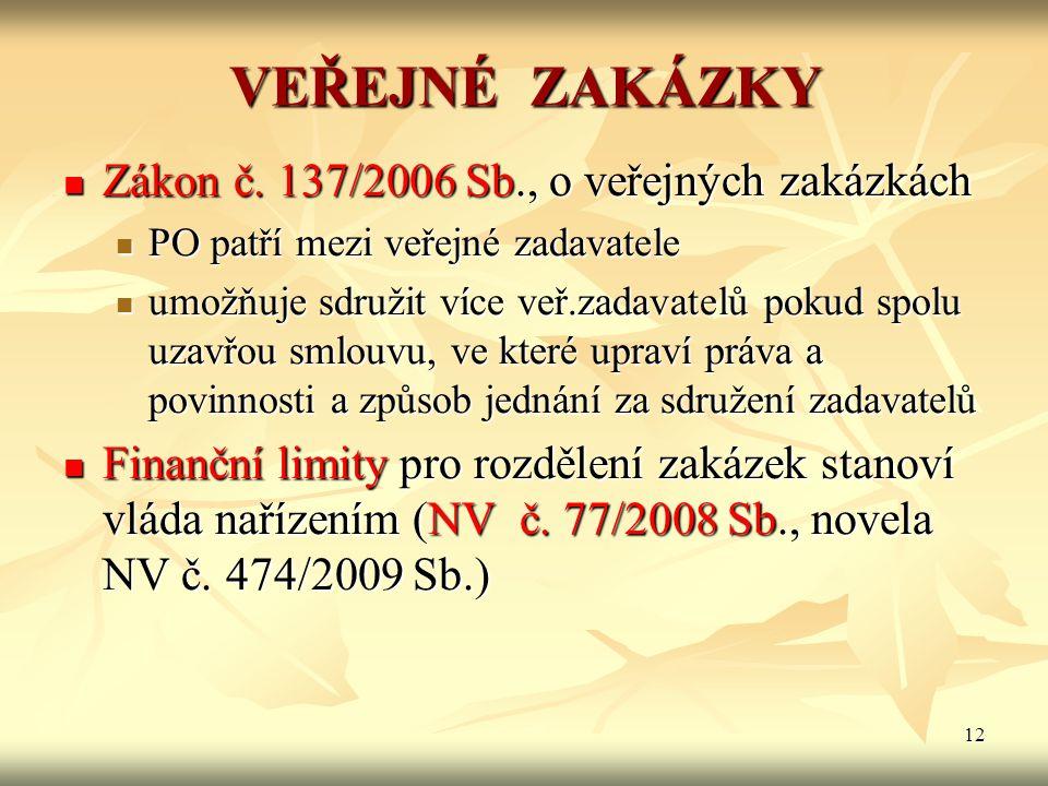 12 VEŘEJNÉ ZAKÁZKY Zákon č. 137/2006 Sb., o veřejných zakázkách Zákon č. 137/2006 Sb., o veřejných zakázkách PO patří mezi veřejné zadavatele PO patří