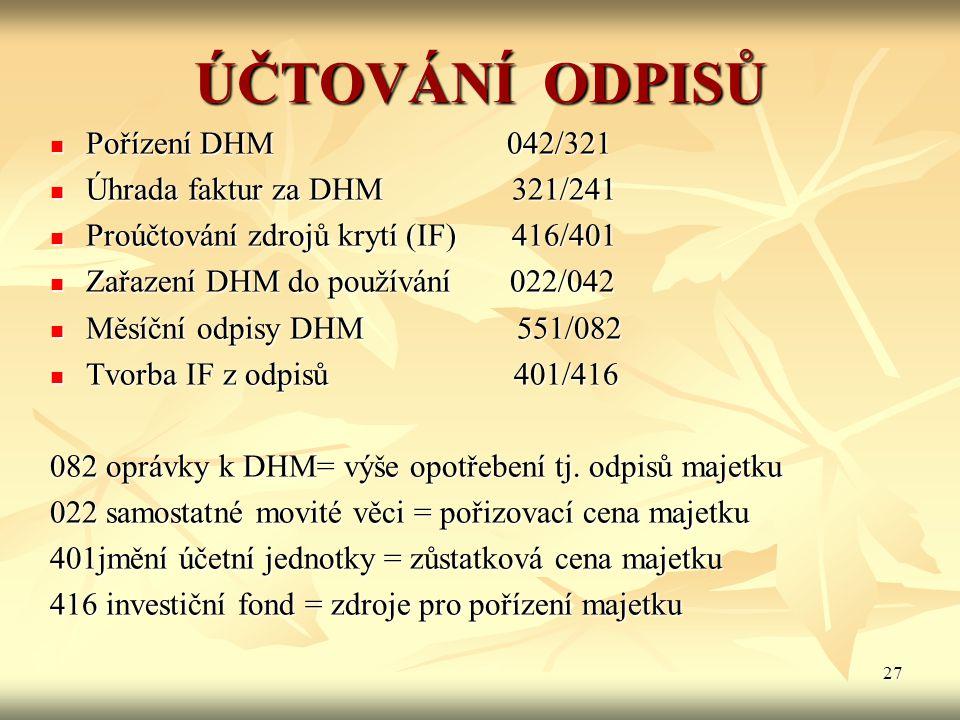 27 ÚČTOVÁNÍ ODPISŮ Pořízení DHM 042/321 Pořízení DHM 042/321 Úhrada faktur za DHM 321/241 Úhrada faktur za DHM 321/241 Proúčtování zdrojů krytí (IF) 4
