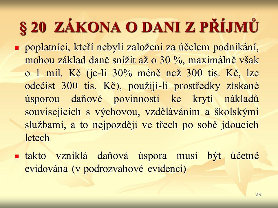29 § 20 ZÁKONA O DANI Z PŘÍJMŮ poplatníci, kteří nebyli založeni za účelem podnikání, mohou základ daně snížit až o 30 %, maximálně však o 1 mil. Kč (