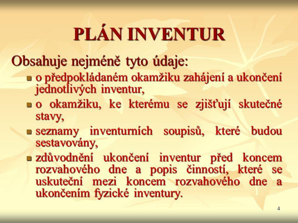 4 PLÁN INVENTUR Obsahuje nejméně tyto údaje: o předpokládaném okamžiku zahájení a ukončení jednotlivých inventur, o předpokládaném okamžiku zahájení a