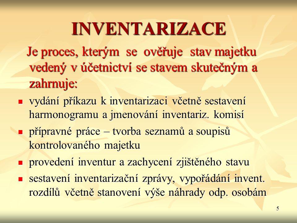 5 INVENTARIZACE Je proces, kterým se ověřuje stav majetku vedený v účetnictví se stavem skutečným a zahrnuje: Je proces, kterým se ověřuje stav majetk