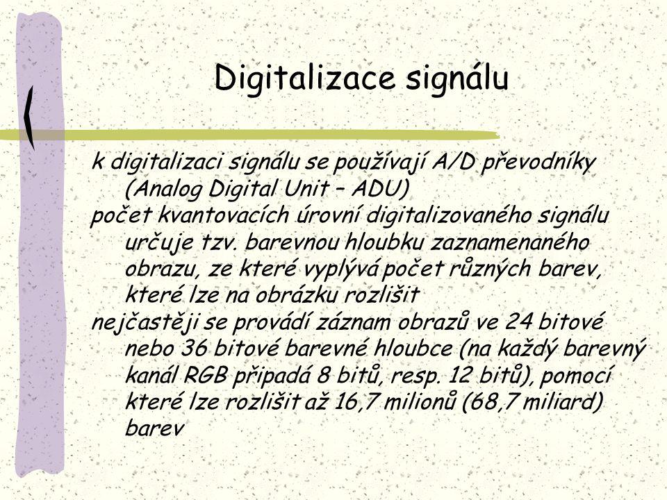 Digitalizace signálu k digitalizaci signálu se používají A/D převodníky (Analog Digital Unit – ADU) počet kvantovacích úrovní digitalizovaného signálu