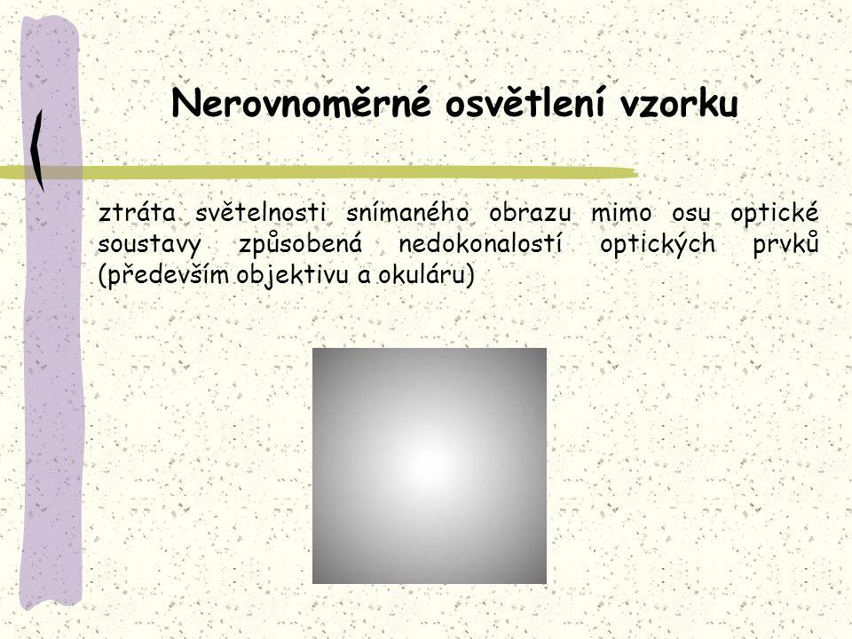 ztráta světelnosti snímaného obrazu mimo osu optické soustavy způsobená nedokonalostí optických prvků (především objektivu a okuláru) Nerovnoměrné osv