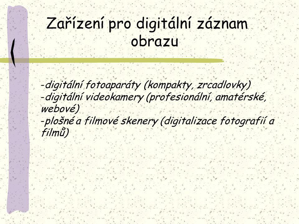 Zařízení pro digitální záznam obrazu -digitální fotoaparáty (kompakty, zrcadlovky) -digitální videokamery (profesionální, amatérské, webové) -plošné a