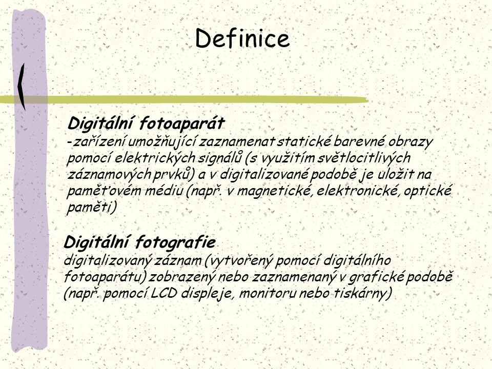 Definice Digitální fotoaparát -zařízení umožňující zaznamenat statické barevné obrazy pomocí elektrických signálů (s využitím světlocitlivých záznamov