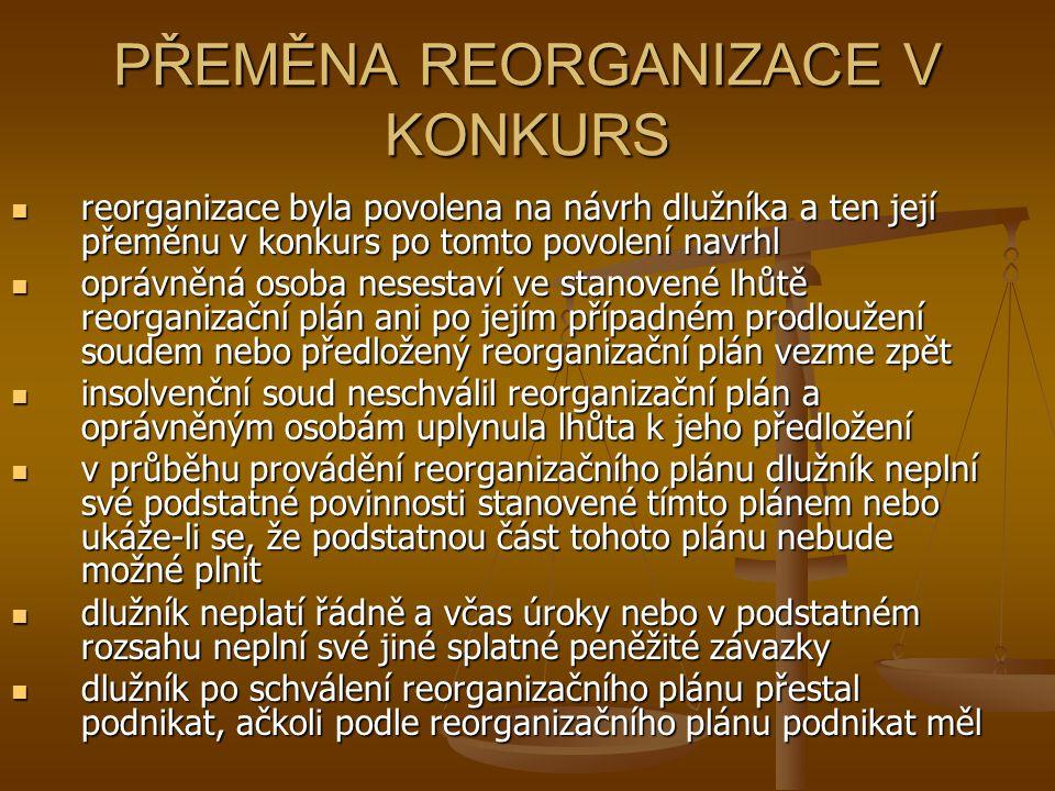 PŘEMĚNA REORGANIZACE V KONKURS reorganizace byla povolena na návrh dlužníka a ten její přeměnu v konkurs po tomto povolení navrhl reorganizace byla po