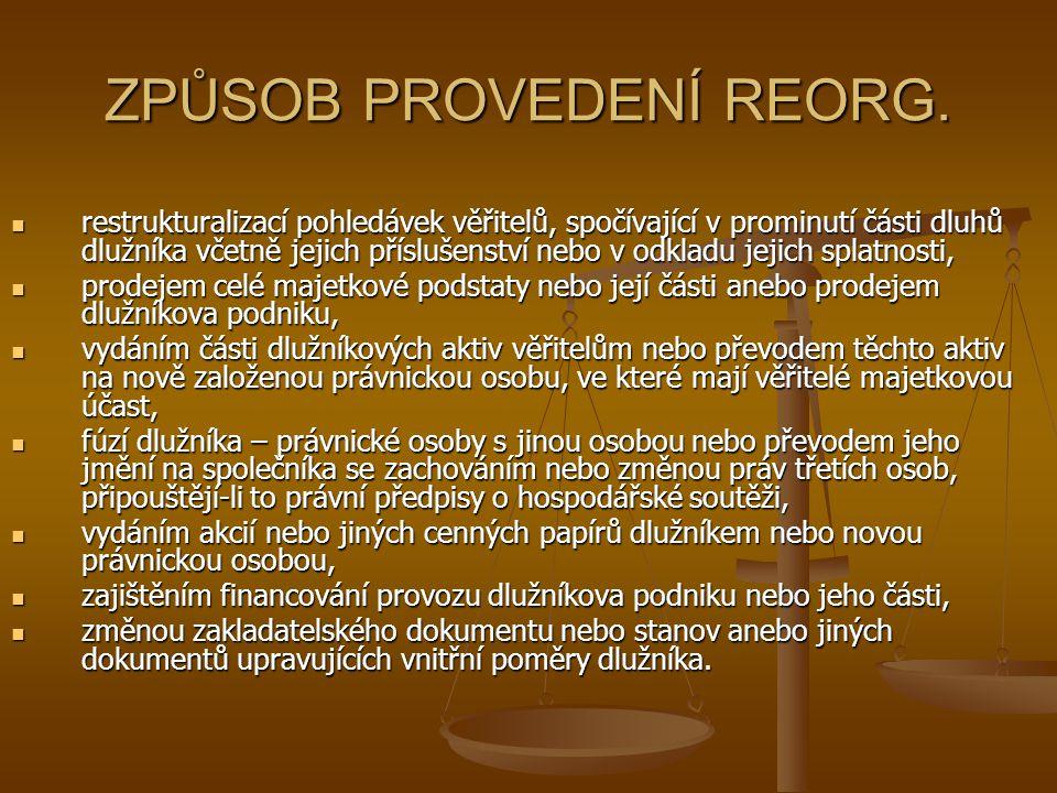 ZPŮSOB PROVEDENÍ REORG. restrukturalizací pohledávek věřitelů, spočívající v prominutí části dluhů dlužníka včetně jejich příslušenství nebo v odkladu