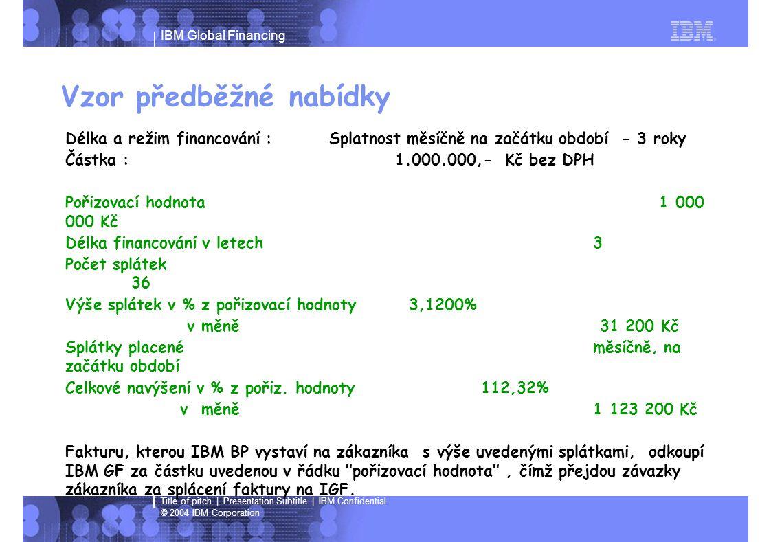 IBM Global Financing © 2004 IBM Corporation Title of pitch   Presentation Subtitle   IBM Confidential Kontakt: Jindra Baudisová tel: +420 272 131 218 e-mail: jindra_baudisova@cz.ibm.com Tereza Chudáčková tel: +420 272 131 191 e-mail: tereza_chudackova@cz.ibm.com Daniel Hornof tel: +420 272 131 210 e-mail: daniel_hornof @cz.ibm.com