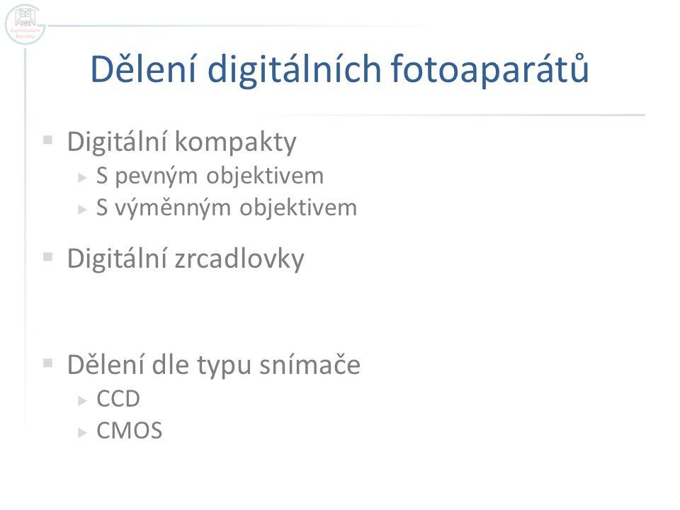 Dělení digitálních fotoaparátů  Digitální kompakty  S pevným objektivem  S výměnným objektivem  Digitální zrcadlovky  Dělení dle typu snímače  CCD  CMOS