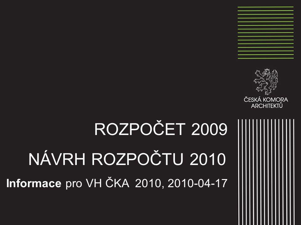 ROZPOČET 2009 NÁVRH ROZPOČTU 2010 Informace pro VH ČKA 2010, 2010-04-17