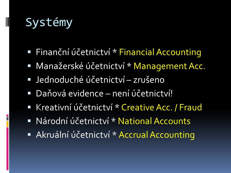 Systémy  Finanční účetnictví * Financial Accounting  Manažerské účetnictví * Management Acc.