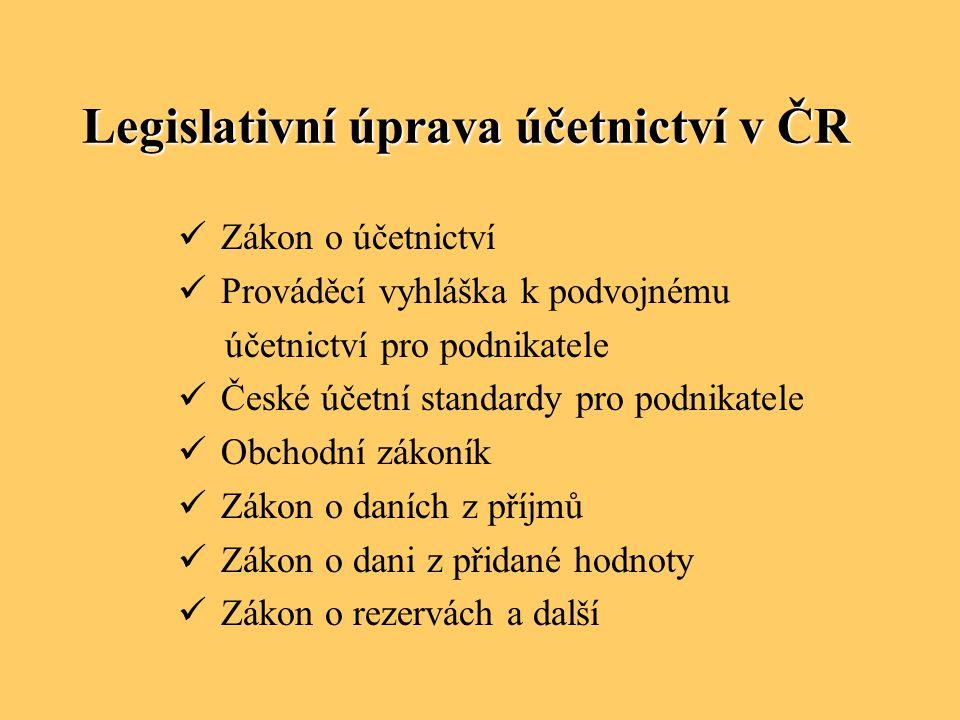 Legislativní úprava účetnictví v ČR Zákon o účetnictví Prováděcí vyhláška k podvojnému účetnictví pro podnikatele České účetní standardy pro podnikate