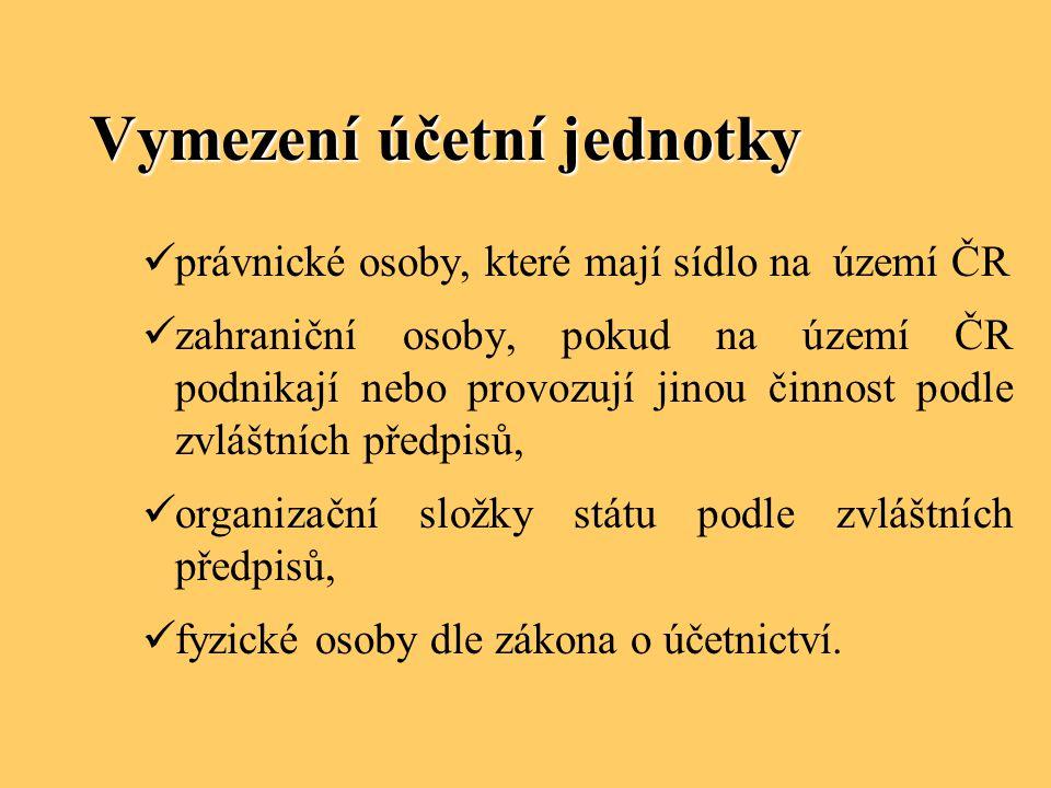 Vymezení účetní jednotky právnické osoby, které mají sídlo na území ČR zahraniční osoby, pokud na území ČR podnikají nebo provozují jinou činnost podl