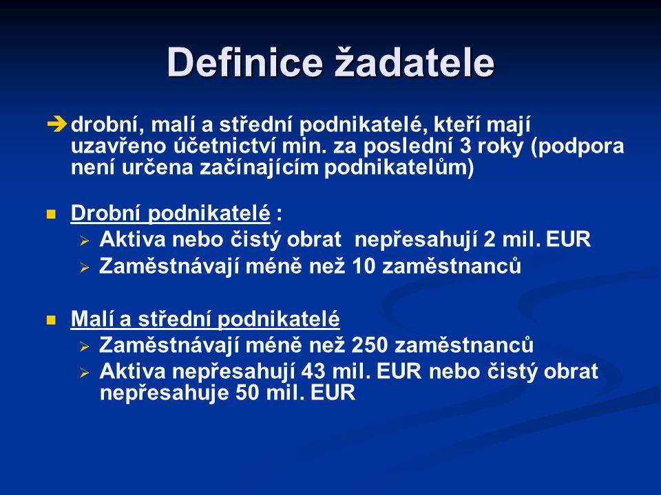 Definice žadatele   drobní, malí a střední podnikatelé, kteří mají uzavřeno účetnictví min.