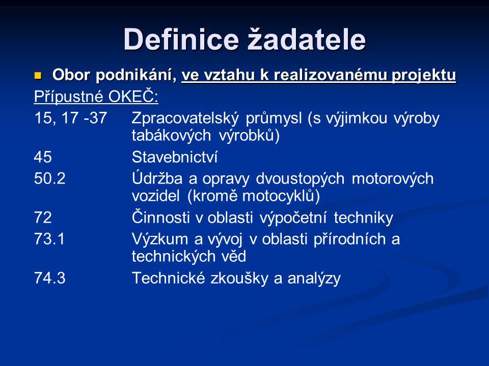 Definice žadatele Obor podnikání, ve vztahu k realizovanému projektu Obor podnikání, ve vztahu k realizovanému projektu Přípustné OKEČ: 15, 17 -37Zpracovatelský průmysl (s výjimkou výroby tabákových výrobků) 45Stavebnictví 50.2Údržba a opravy dvoustopých motorových vozidel (kromě motocyklů) 72Činnosti v oblasti výpočetní techniky 73.1Výzkum a vývoj v oblasti přírodních a technických věd 74.3 Technické zkoušky a analýzy