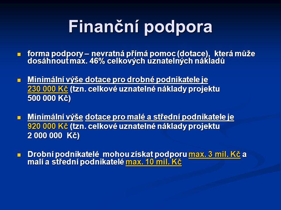 Finanční podpora forma podpory – nevratná přímá pomoc (dotace), která může dosáhnout max.