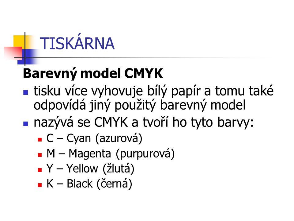 TISKÁRNA Barevný model CMYK tisku více vyhovuje bílý papír a tomu také odpovídá jiný použitý barevný model nazývá se CMYK a tvoří ho tyto barvy: C – C