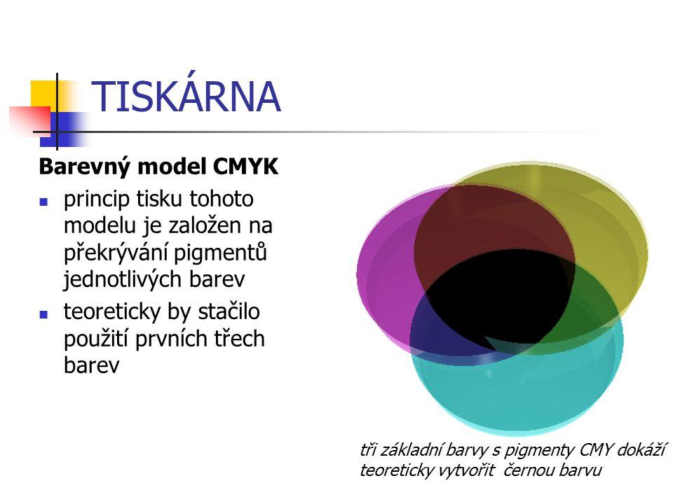 TISKÁRNA Barevný model CMYK princip tisku tohoto modelu je založen na překrývání pigmentů jednotlivých barev teoreticky by stačilo použití prvních tře