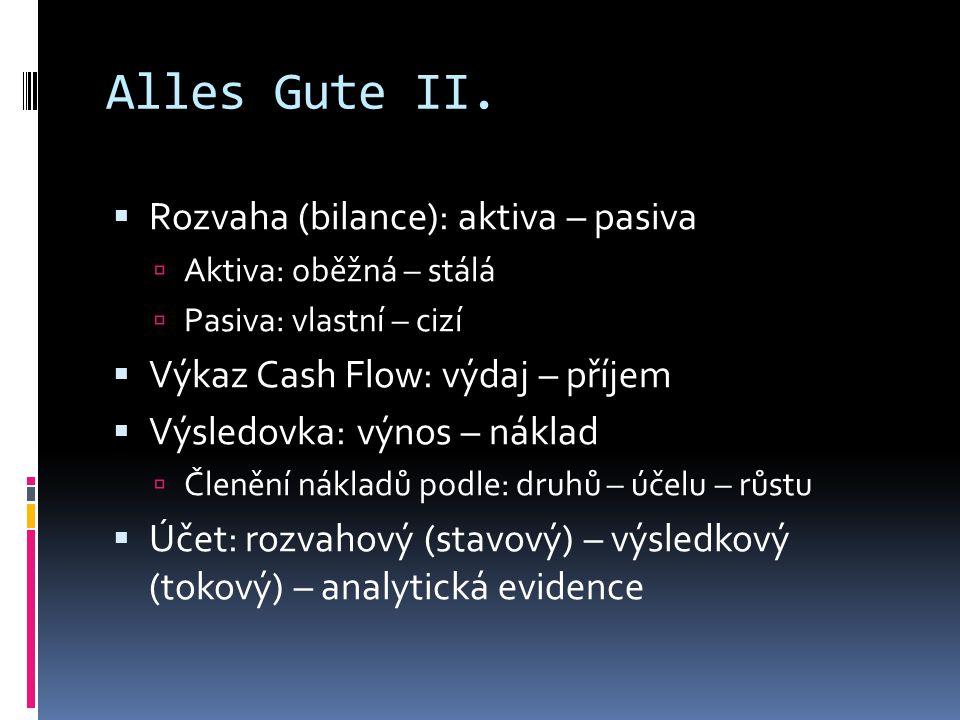 Alles Gute II.  Rozvaha (bilance): aktiva – pasiva  Aktiva: oběžná – stálá  Pasiva: vlastní – cizí  Výkaz Cash Flow: výdaj – příjem  Výsledovka:
