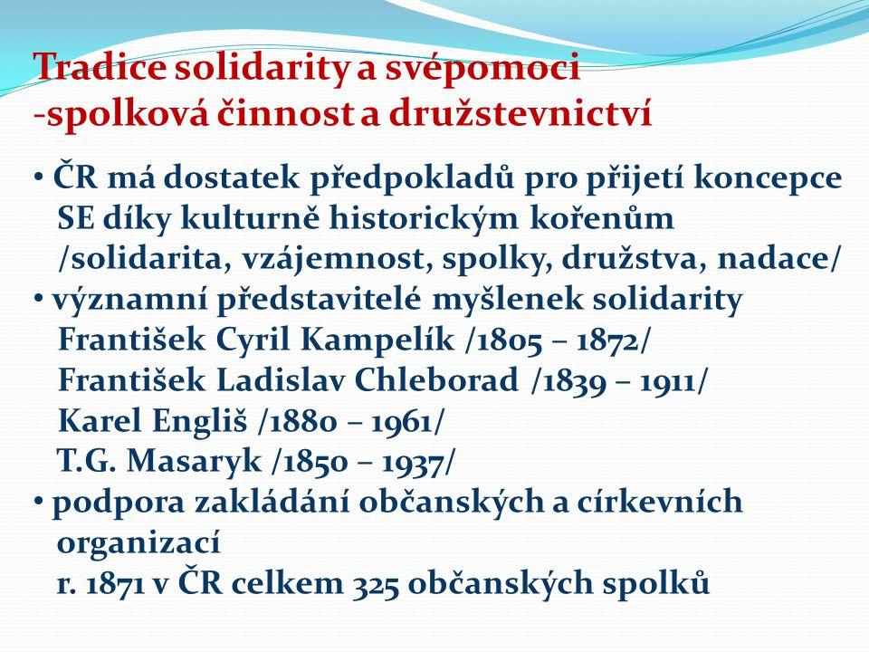 Tradice solidarity a svépomoci -spolková činnost a družstevnictví ČR má dostatek předpokladů pro přijetí koncepce SE díky kulturně historickým kořenům