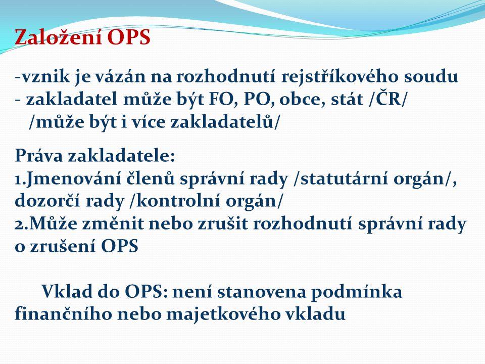Založení OPS -vznik je vázán na rozhodnutí rejstříkového soudu - zakladatel může být FO, PO, obce, stát /ČR/ /může být i více zakladatelů/ Práva zakladatele: 1.Jmenování členů správní rady /statutární orgán/, dozorčí rady /kontrolní orgán/ 2.Může změnit nebo zrušit rozhodnutí správní rady o zrušení OPS Vklad do OPS: není stanovena podmínka finančního nebo majetkového vkladu