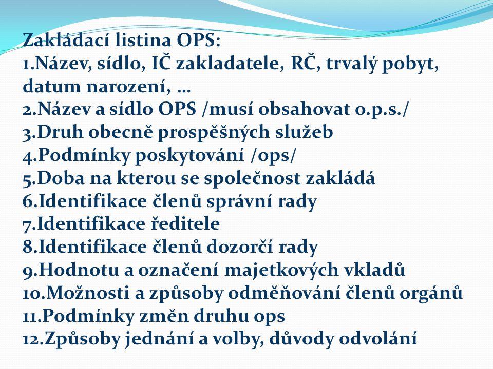 Zakládací listina OPS: 1.Název, sídlo, IČ zakladatele, RČ, trvalý pobyt, datum narození, … 2.Název a sídlo OPS /musí obsahovat o.p.s./ 3.Druh obecně prospěšných služeb 4.Podmínky poskytování /ops/ 5.Doba na kterou se společnost zakládá 6.Identifikace členů správní rady 7.Identifikace ředitele 8.Identifikace členů dozorčí rady 9.Hodnotu a označení majetkových vkladů 10.Možnosti a způsoby odměňování členů orgánů 11.Podmínky změn druhu ops 12.Způsoby jednání a volby, důvody odvolání