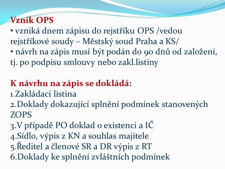 Vznik OPS vzniká dnem zápisu do rejstříku OPS /vedou rejstříkové soudy – Městský soud Praha a KS/ návrh na zápis musí být podán do 90 dnů od založení, tj.