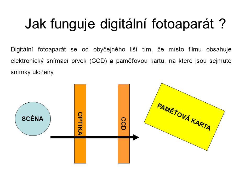 Digitální fotoaparát se od obyčejného liší tím, že místo filmu obsahuje elektronický snímací prvek (CCD) a paměťovou kartu, na které jsou sejmuté sním