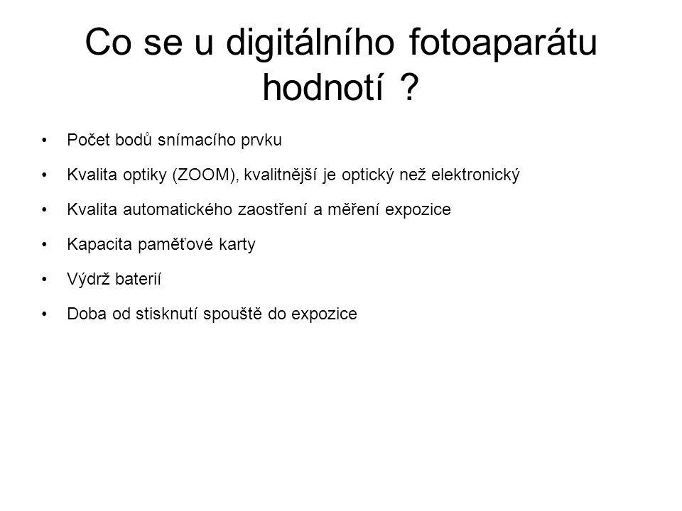 Co se u digitálního fotoaparátu hodnotí ? Počet bodů snímacího prvku Kvalita optiky (ZOOM), kvalitnější je optický než elektronický Kvalita automatick